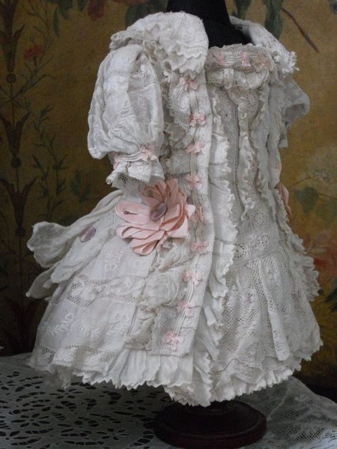 ~~~ Most beautiful French Muslin Dress with Bonnet ~~~ : When Dreams Come True Doll-Shop