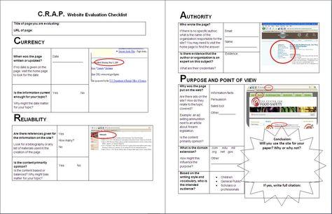 Worksheet: C.R.A.P. Website Evaluation Checklist | Library ...