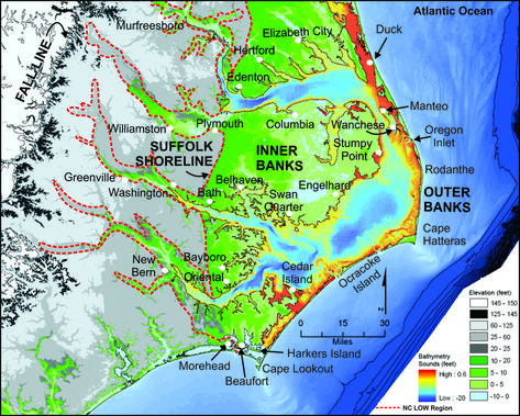 This Is A Colored Topographic Map Of The Nc Low Coastal System Which