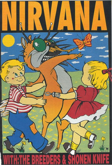 Frank Kozik - Nirvana Concert Poster, Signed by the Artist A4 Poster, Poster Wall, Poster Prints, Manga Cover, Frank Kozik, Concert Rock, Poster Festival, Rock Band Posters, Vintage Concert Posters