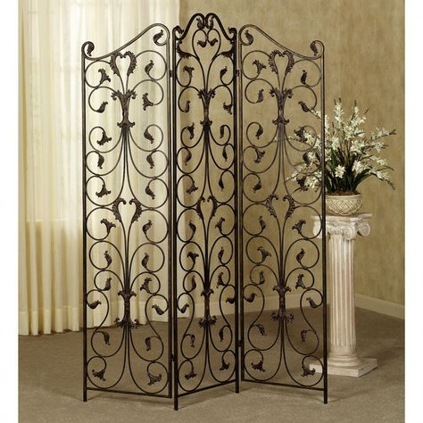 3 Panel Antique Wrought Iron Ornate With Black Finish Room