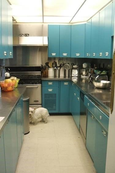 Mid Century Modern 1953 Geneva Teal Metal Kitchen Cab The
