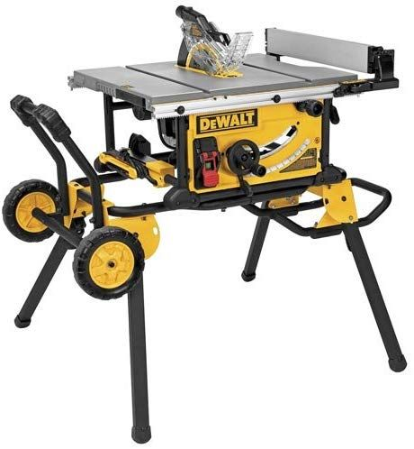 The Dewalt Dwe7491rs 10 Inch Jobsite Table Saw With 32 1 2 Inch 82 5cm Rip Capacity And A Rolling Stan With Images 10 Inch Table Saw Portable Table Saw Jobsite Table Saw