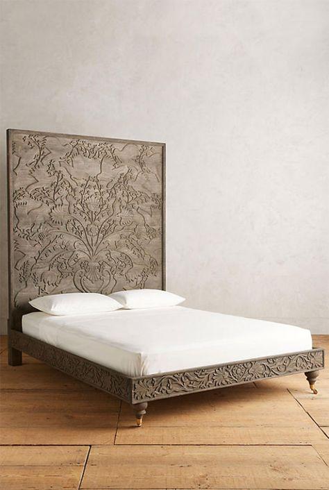 4 Handcarved bed frame—Indian rosewood handcarved Odelina bedframe, in Grey, Anthropologie, between $2,298-$2,498