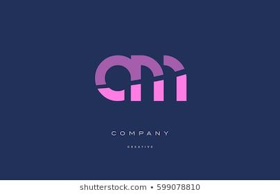 Am A M Pink Blue Pastel Modern Abstract Alphabet Company Logo