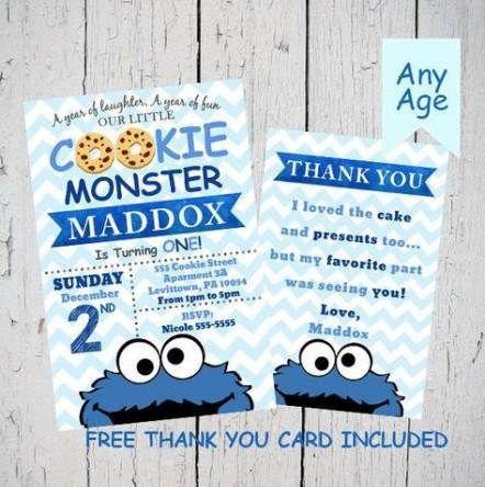 33 Trendy Ideas Cookies Monster Birthday Card In 2021 Monster Birthday Invitations Cookie Monster Birthday Monster Invitations