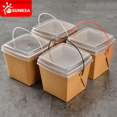 Disposable Takeout Plastic Handle Food Paper Container With Dish Tray Buy Disposable Food C Disposable Food Containers Food Packaging Food Delivery Packaging