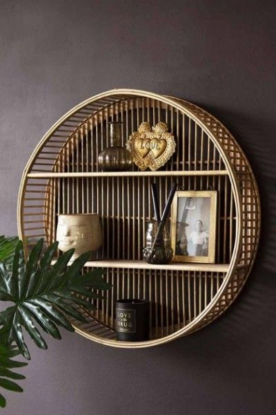 Round Bamboo Two Tier Shelf Unit Round Wall Shelves Home Decor Unique Wall Shelves