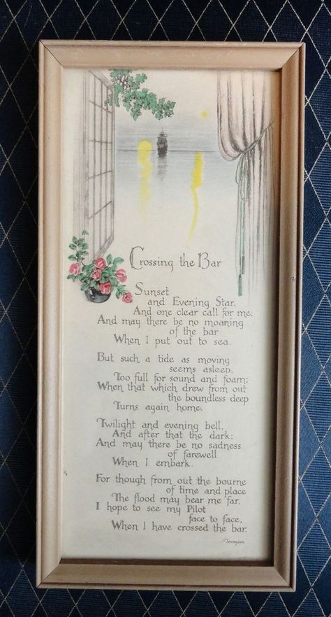 Vintage Buzza Motto Wall Art Crossing The Bar Poem By Alfred Lord Tennyson Art Deco Illustration Prints Lithograph Print