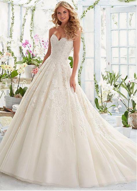 Organza Sweetheart A-line Wedding Dress with Detachable Shoulder ...