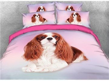 3D Effect 4 Piece Bedding Complete Set Quilt Cover Fitted Sheet Pillow cases Pet