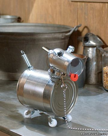 Tin Can Dog Robot (Tutorial) @Martha Stewart: Making this tin can dog is a perfect project for you and your kids to do together. Almost everything you need can be found in your tool chest, kitchen cabinet, and recycling bin. Use a smooth-edge can opener to prevent any injuries, or rub jagged edges with emery paper prior to assembly....