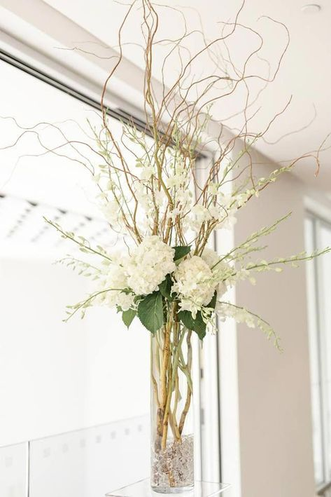 summer wedding 46 Tall Wedding Centerpieces On Your Big Day Page 2 Wedding to Amaze Branch Centerpieces, Tall Wedding Centerpieces, Wedding Flower Arrangements, Floral Arrangements, Curly Willow Centerpieces, Willow Branch Centerpiece, Non Floral Centerpieces, Centerpiece Flowers, Centrepieces