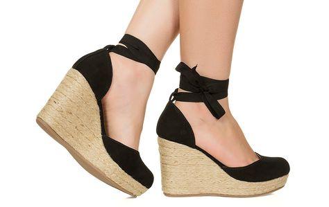 Taquilla - Espadrille preta com salto corda Taquilla - Loja online de sapatos femininos