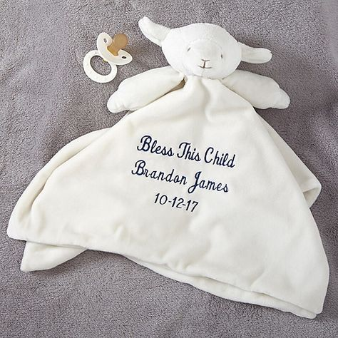 Buy personalized security blanket for baby & add any 3 lines of text. Create a sweet baby lovey & Christening gift. Personalised Christening Gifts, Personalized Baby Blankets, Personalized Baby Gifts, Custom Baby Gifts, Baby Lovey, Baby Shawer, Baby Boy Or Girl, Security Blanket, Baby Decor
