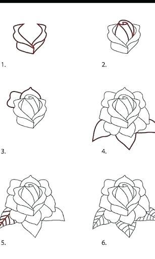 Image Result For How To Draw Flowers Step By Step With Pencil Flower Drawing Roses Drawing Drawing Tutorial