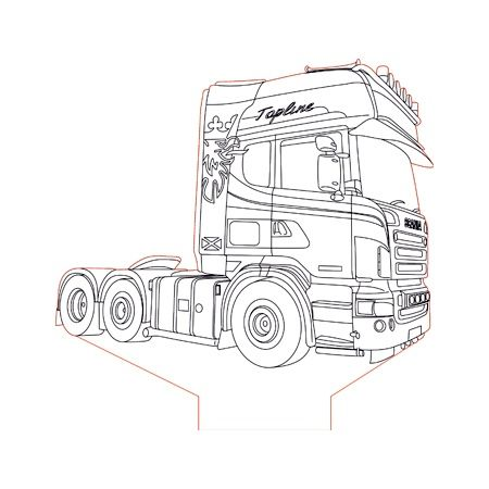 Scania Truck 2 3d Illusion Lamp Plan Vector File For Laser And Cnc 3bee Studio Scania Lkw Lkw Ausmalbild