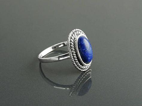 Bague argent 925 sterling avec lapis lazuli