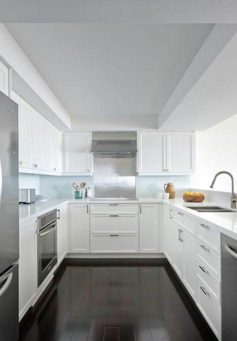 Kchen Halbinselform. U-Form Küche Schwarzer Granit Und Weißer Lack