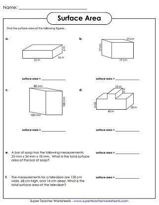 Free Printable Surface Area Worksheets