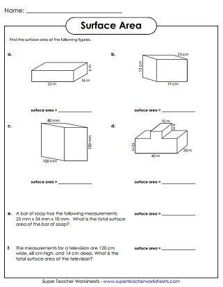Surface Area Printable Area Worksheets Kindergarten Worksheets Sight Words Worksheet Template