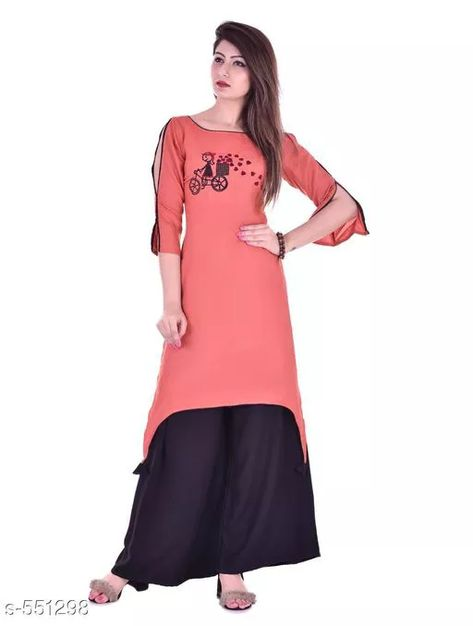 Designer Embroidered Rayon Kurti Sets Fabric: Kurti - Rayon, Palazzo - Rayon  Sleeves: Kurti - Half Sleeves Are Included size: Kurti: S - 36 in, M - 38 in, L - 40 in, XL - 42 in, XXL - 44 in Palazzo size: S - 26 in, M - 28 in, L - 30 in, XL - 32 in, XXL - 34 in  Length: Kurti - Up to 46 in, Palazzo - Up to 38 in Type: Stitched  Description: It Has 1 Piece Of Kurti & 1 Piece Of Palazzo Work/ Pattern: Kurti - Embroidered, Palazzo - Solid  For Business WhatsApp +918010630338