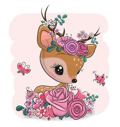 Woodland deer with flowers and butterflies on a Vector Image