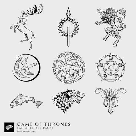 Game Of Thrones Fan Art 23 Vectors Free Download Game Of Thrones Tattoo Vector Art Design Trendy Games
