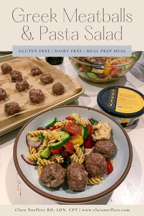 Greek Meatballs and Pasta Salad - Clara Norfleet   Food Fitness and Faith