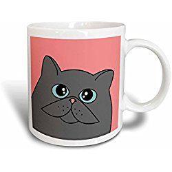 Grey Cat Mug The Curious Cat Grey With Blue Eyes Pink Ceramic Mug 11 Ounce White Cat Lover Gifts Grey Cats Cat Mug