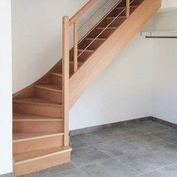 Escalier 1 4 Tournant Bas Contemporain En Bois Et En Inox