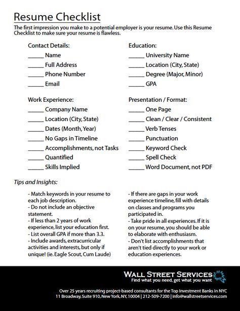 Resume Checklist for Finance Professionals - With over 25 years of - how to list education on resume