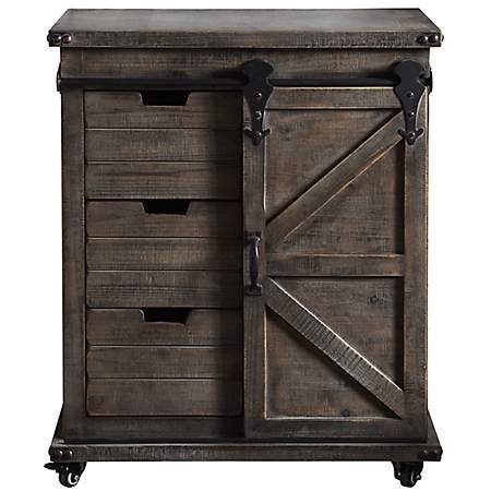 Rustic Gray Fir Wood Rolling Barn Door Cabinet Kirklands Accent Chests And Cabinets Side Cabinet Barn Style Doors