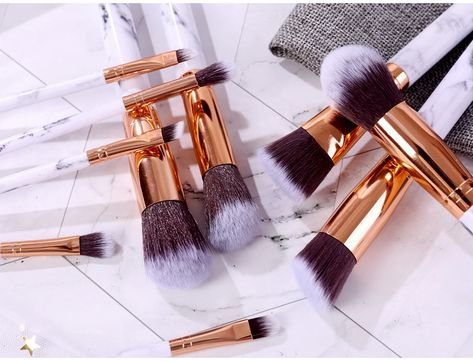 Marble Makeup Brushes Set 10 Pieces Available Wholesale Marblemakeupbrushes Marble Makeupbrushes Makeupbrushset Makeup Brush Set Makeup Brushes Brush Set