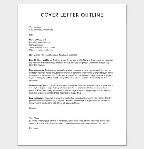 Cover Letter Outline Example Eclectic Mentor Cover letter