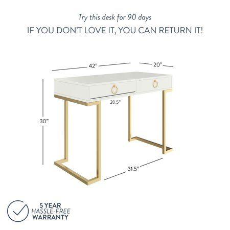 Astounding Leighton White Two Drawer Modern Desk With Gold Legs And Download Free Architecture Designs Oxytwazosbritishbridgeorg