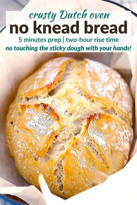 Dutch Oven No Knead Bread (with perfect crusty crust!) – Bowl of Delicious This recipe for no knead artisan bread is so easy to make in your Dutch oven with only 5 minutes of prep, and you don't need to touch the sticky dough with your hands at all! Knead Bread Recipe, Tasty Bread Recipe, No Knead Bread, Best Pizza Dough Recipe, Bread Dough Recipe, Dutch Oven Bread, Dutch Oven Artisan Bread Recipe, Dutch Oven Recipes Dessert, Easy Dutch Oven Recipes