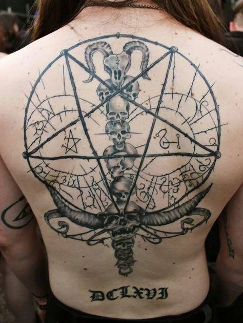 Pin By Gharasham Buns On Him Satanic Tattoos Tattoos And Piercings Geometric Tattoo