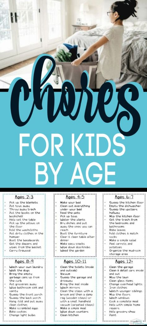 PERFECT list of Age Appropriate Chores for kids developed by a child therapist & teacher. These Age appropriate chores for young children & older children (tweens & teens, too) is great because it gives the age for the chores for kids. Chores teach k