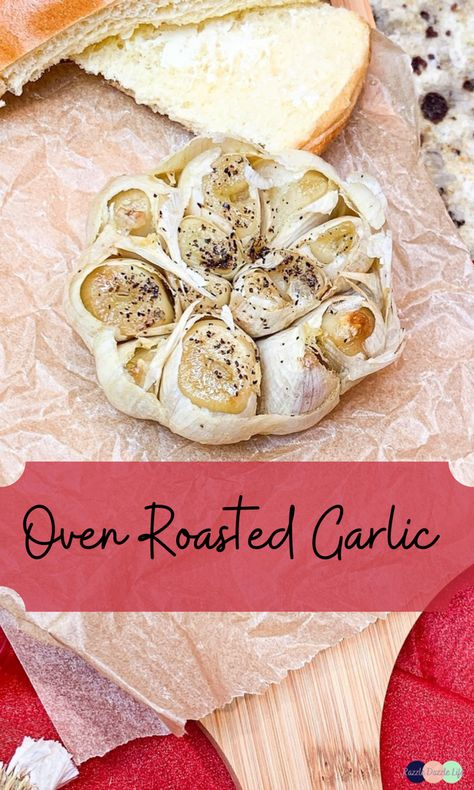 Oven roasted garlic adds a beautiful layer of flavor to any dish. Add the roasted garlic to sauces, stews, mashed potatoes, or serve it as an appetizer to smear on bread or crackers. #recipe #quick #quickandeasy #oven #ovenroasted #roasted #garlic #roastedgarlic #flavors #flavorful