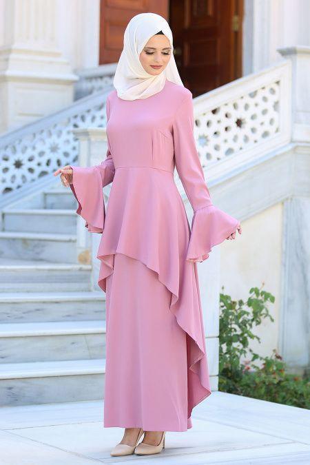 Neva Style Neva Style Volanli Gul Kurusu Tesettur Elbise 41540gk Elbise Islami Moda Moda Stilleri