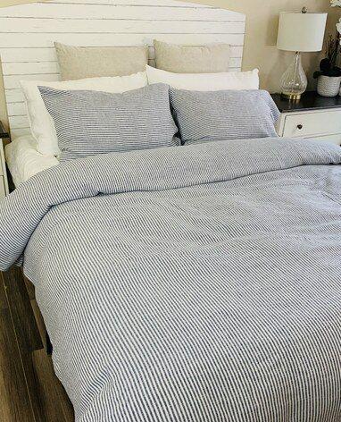 Denim Navy And White Striped Linen Duvet Cover Striped Bed Sheets Linen Duvet Striped Duvet Covers