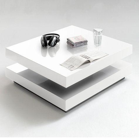 Details zu Couchtisch Vision in Weiß Hochglanz Quadratisch - wohnzimmertisch hochglanz weiß