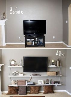 Superbe Decorating Ideas On A Budget   Living Room Design Ideas, Pictures, Remodels  And Decor Transform A Space! | Floating Shelves | Pinterest | Room  Decorating ...