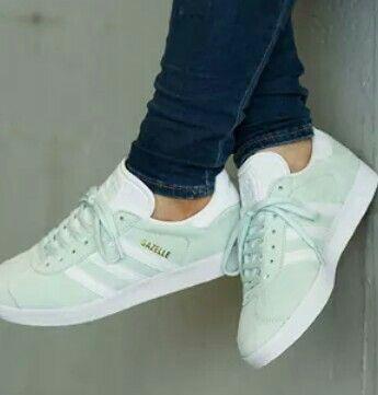 Mint green adidas gazelle NEED WANT   Mint sneakers, Green adidas ...