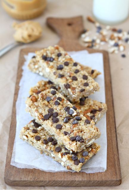 No-Bake Peanut Butter Pretzel Chocolate Chip Granola Bars from www.twopeasandtheirpod.com