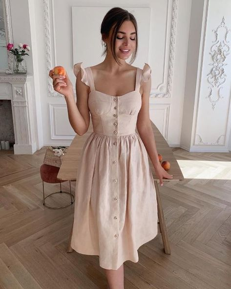 Cotton sleeveless square neck dress Solid Long Summer Suspender A-line Female Dress Casual Button Ruffle Women Dress New - M / Apricot