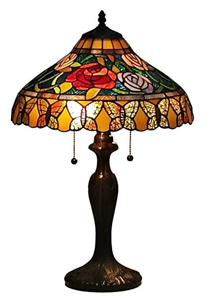 Amora Lighting Am060tl16 Tiffany Style Roses And Butterflies Table Lamp 24 Inches Tiffany Style Table Lamps Table Lamp Butterfly Lamp