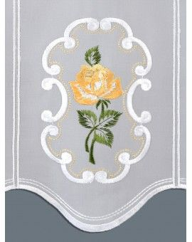 Scheibengardinen Stickerei Kurzgardine Rose In Gelb In 2020 Scheibengardine Kurze Gardinen Gardinen