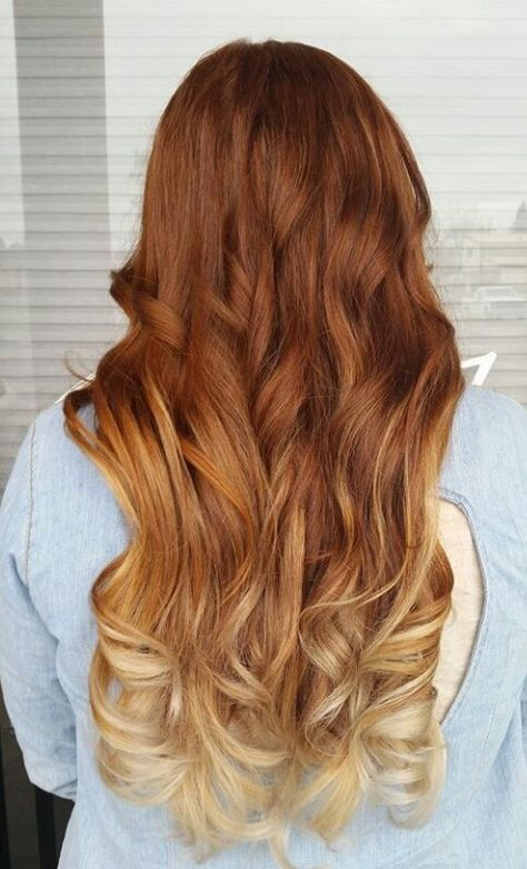 Natural Red To A Bright Blonde Ombre Blonde Hair With
